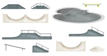 Skate Park Elements Isolated. ...
