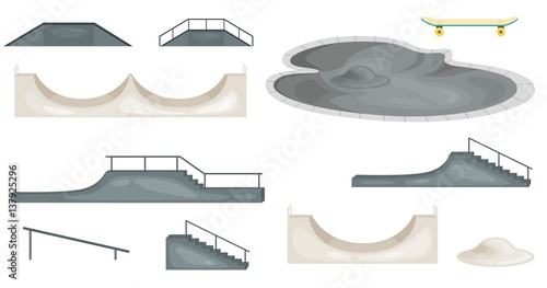 Tableau sur Toile Skate park elements isolated. Skate Ramp. Vector Illustration