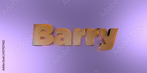 Fotografia  Barry - colorful glass text on vibrant background - 3D rendered royalty free stock image