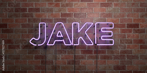 Photo JAKE - fluorescent Neon tube Sign on brickwork - Front view - 3D rendered royalty free stock picture