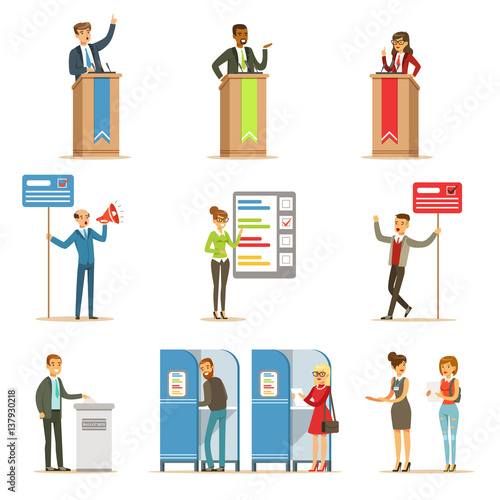 Valokuva  Political Candidates And Voting Process Set Of Democratic Elections Themed Illus