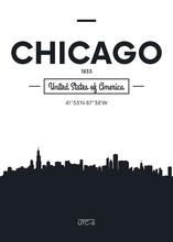 Poster City Skyline Chicago, F...