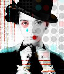 The poster of a beautiful girl in the image of a clown in a pop art style..