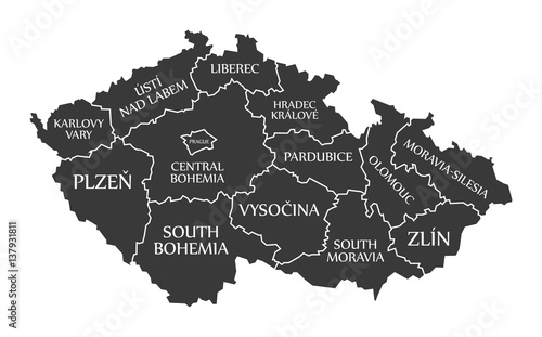 Czech Republic Map labelled black illustration Tablou Canvas
