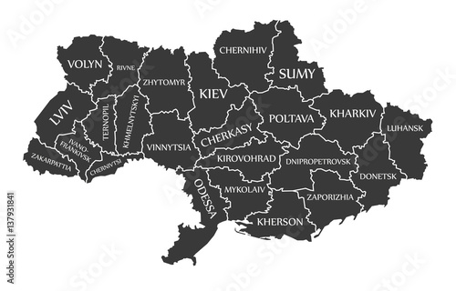 Fototapeta Ukraine-map-with-labels-black