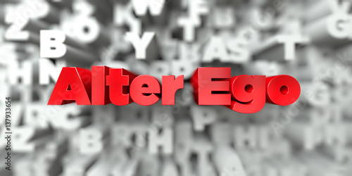 Alter Ego -  Red text on typography background - 3D rendered royalty free stock image Plakat