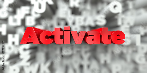 Activate -  Red text on typography background - 3D rendered royalty free stock image Canvas Print