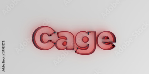 Fotografie, Obraz  Cage - Red glass text on white background - 3D rendered royalty free stock image