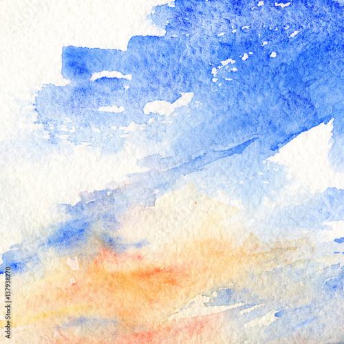 akwarela-zmierzchu-blekitny-pomaranczowy-niebo-chmurnieje-tekstury-tlo
