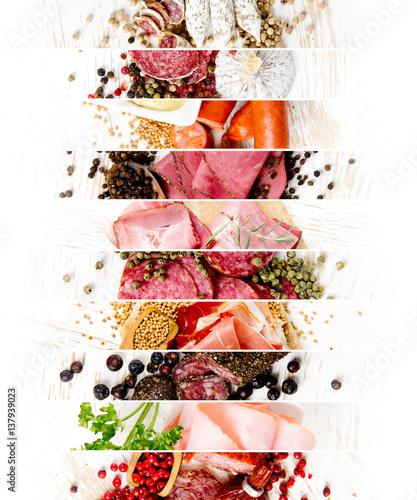 Staande foto Vlees Ham and Salami Mix