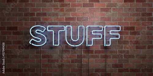 Fotografie, Obraz  STUFF - fluorescent Neon tube Sign on brickwork - Front view - 3D rendered royalty free stock picture