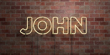 JOHN - Fluorescent Neon Tube Sign On Brickwork - Front View - 3D Rendered Royalty Free Stock Picture. Can Be Used For Online Banner Ads And Direct Mailers..