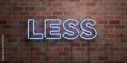 Fotografía  LESS - fluorescent Neon tube Sign on brickwork - Front view - 3D rendered royalty free stock picture