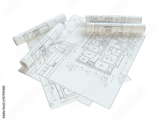 Rolled house blueprints isolated buy this stock illustration and rolled house blueprints isolated malvernweather Image collections