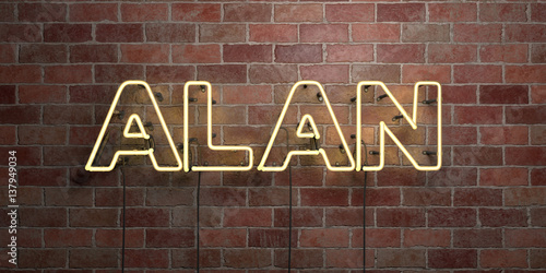 ALAN - fluorescent Neon tube Sign on brickwork - Front view - 3D rendered royalty free stock picture Poster