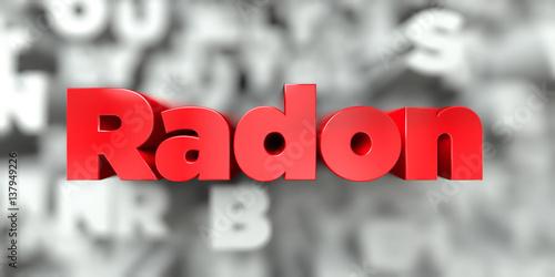 Radon -  Red text on typography background - 3D rendered royalty free stock image Tapéta, Fotótapéta