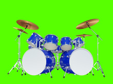Blue Drum Kit On A White Background. Isolated On White. 3D Render