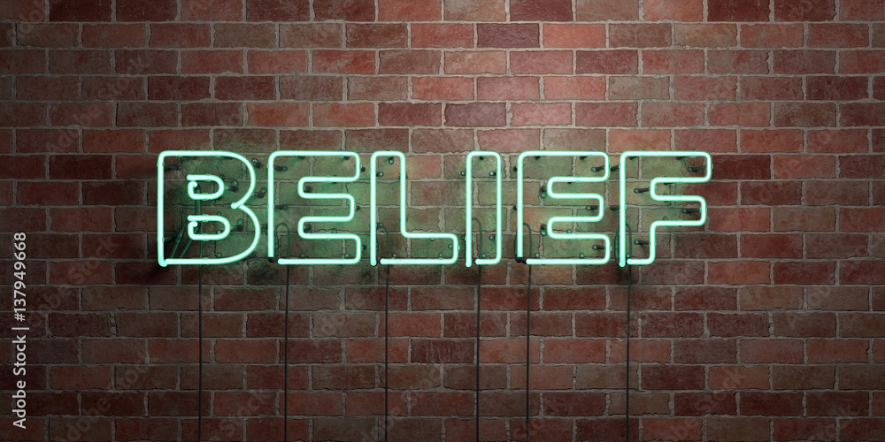 Fototapeta BELIEF - fluorescent Neon tube Sign on brickwork - Front view - 3D rendered royalty free stock picture. Can be used for online banner ads and direct mailers..