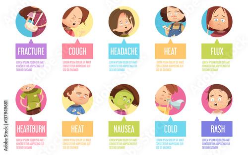 Fotografia  Cartoon Sickness Child Icon Set