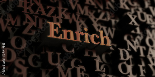 Valokuva  Enrich - Wooden 3D rendered letters/message