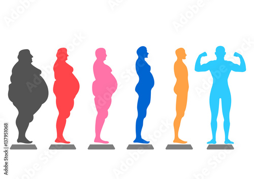 Fotografía  fat body, weight loss, overweight silhouette illustration