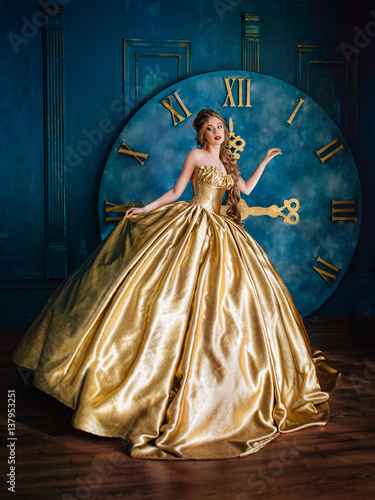 Beautiful woman in a ball gown Wallpaper Mural