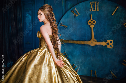 Fotografie, Obraz  Beautiful woman in a ball gown