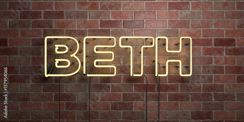 Photo  BETH - fluorescent Neon tube Sign on brickwork - Front view - 3D rendered royalty free stock picture