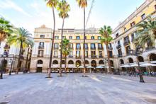 BARCELONA, SPAIN - November 10: Plaza Real Placa Reial . Royal Square Catalonia