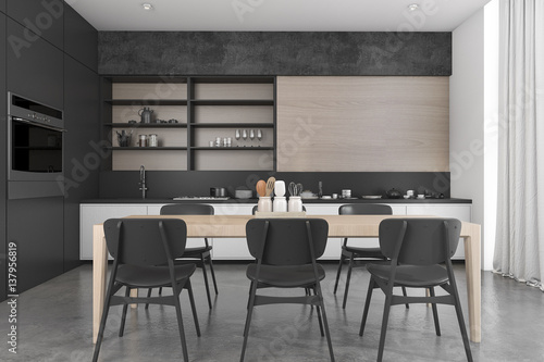 Pinturas sobre lienzo  3d rendering black wood loft dining room and kitchen
