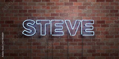 Fototapeta STEVE - fluorescent Neon tube Sign on brickwork - Front view - 3D rendered royalty free stock picture