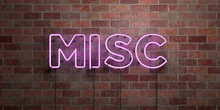 MISC - Fluorescent Neon Tube Sign On Brickwork - Front View - 3D Rendered Royalty Free Stock Picture. Can Be Used For Online Banner Ads And Direct Mailers..