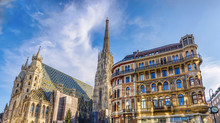 St Stephen Cathedral On Stephansplatz In Vienna, Austria, Blue Sky On A Sunny Day