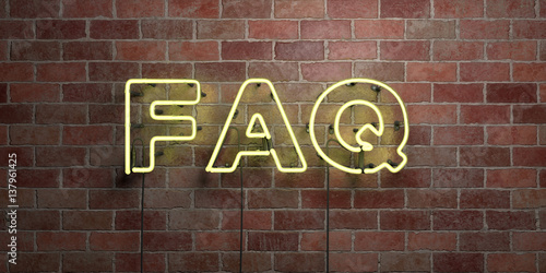 Fotografía FAQ - fluorescent Neon tube Sign on brickwork - Front view - 3D rendered royalty free stock picture