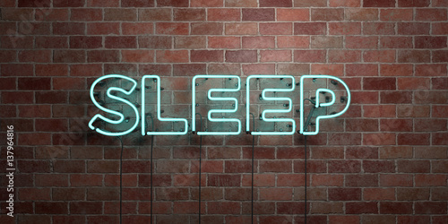 Fotografija  SLEEP - fluorescent Neon tube Sign on brickwork - Front view - 3D rendered royalty free stock picture