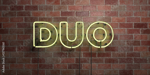 Photo  DUO - fluorescent Neon tube Sign on brickwork - Front view - 3D rendered royalty free stock picture