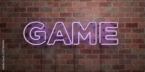 Zdjęcie XXL GAME - fluorescencyjny neon świetlny znak na cegle - widok z przodu - 3D renderowane zdjęcie royalty free. Może być używany do banerów reklamowych online i bezpośrednich przesyłek pocztowych.