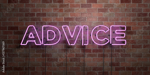 ADVICE - fluorescent Neon tube Sign on brickwork - Front view - 3D rendered royalty free stock picture Canvas Print
