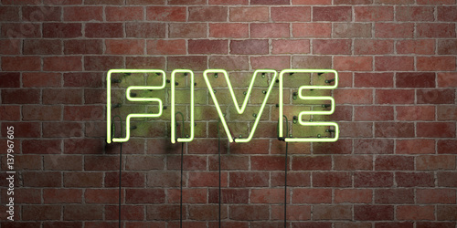 Photographie  FIVE - fluorescent Neon tube Sign on brickwork - Front view - 3D rendered royalty free stock picture