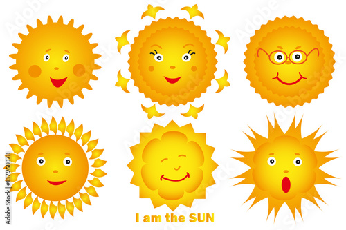 Fototapeta Yellow sun set with smiles on white background vector illustration obraz na płótnie