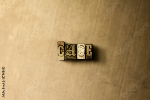 Fotografie, Obraz  CAGE - close-up of grungy vintage typeset word on metal backdrop