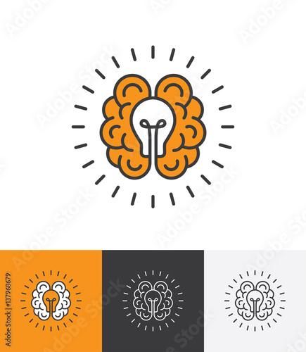 Photo  Logo with brain and light bulb