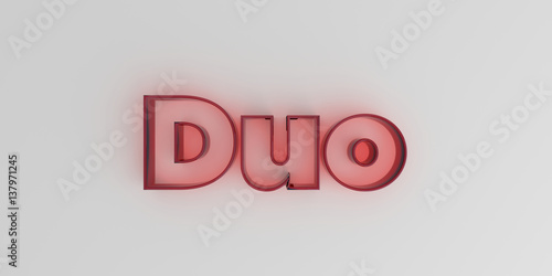 Photo  Duo - Red glass text on white background - 3D rendered royalty free stock image