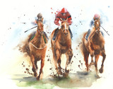 Fototapeta Horses - Horse racing race riding sport jockeys competition horses running watercolor painting illustration