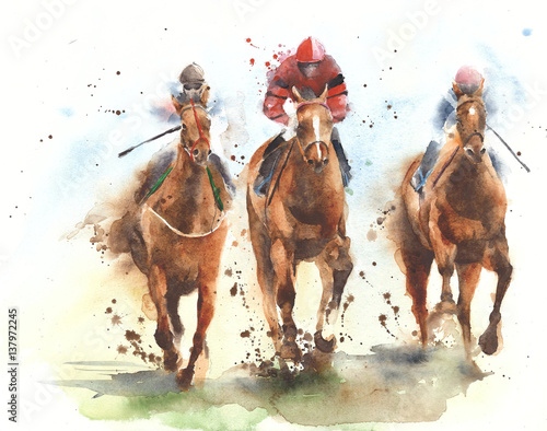 Fotografie, Obraz Horse racing race riding sport jockeys competition horses running watercolor pai