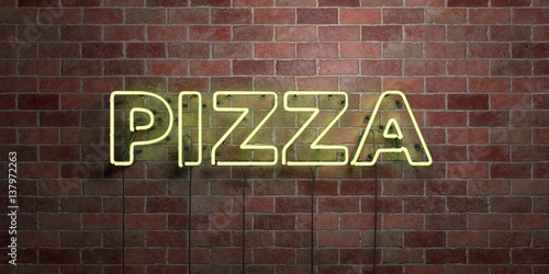 Fotografie, Obraz  PIZZA - fluorescent Neon tube Sign on brickwork - Front view - 3D rendered royalty free stock picture