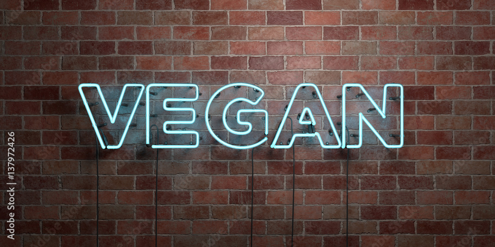Fototapety, obrazy: VEGAN - fluorescent Neon tube Sign on brickwork - Front view - 3D rendered royalty free stock picture. Can be used for online banner ads and direct mailers..