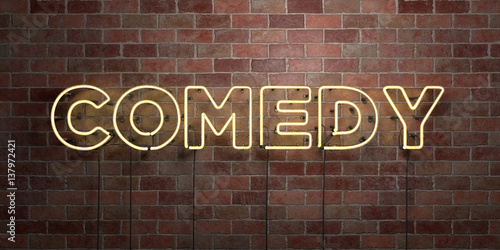 Fotografija  COMEDY - fluorescent Neon tube Sign on brickwork - Front view - 3D rendered royalty free stock picture