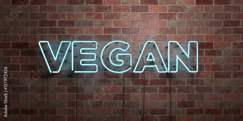 VEGAN - fluorescent Neon tube Sign on brickwork - Front view - 3D rendered royalty free stock picture Wallpaper Mural
