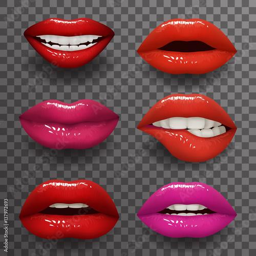 Cuadros en Lienzo Woman lips stylish slightly open mouth isolated 3d realistic fashion mockup tran